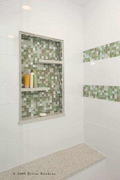 Shower niche shelves silver spray for Bathroom alcove shelves