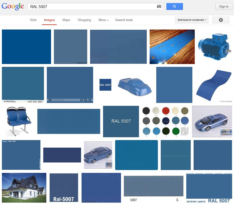 RAL 5007 image search on Google