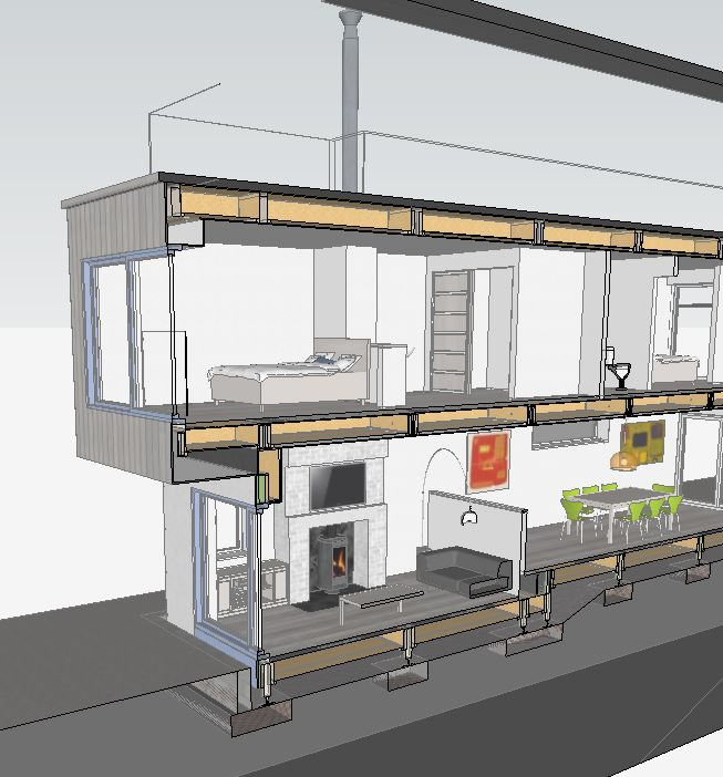 Sketchup - cross section re fire flu - 02
