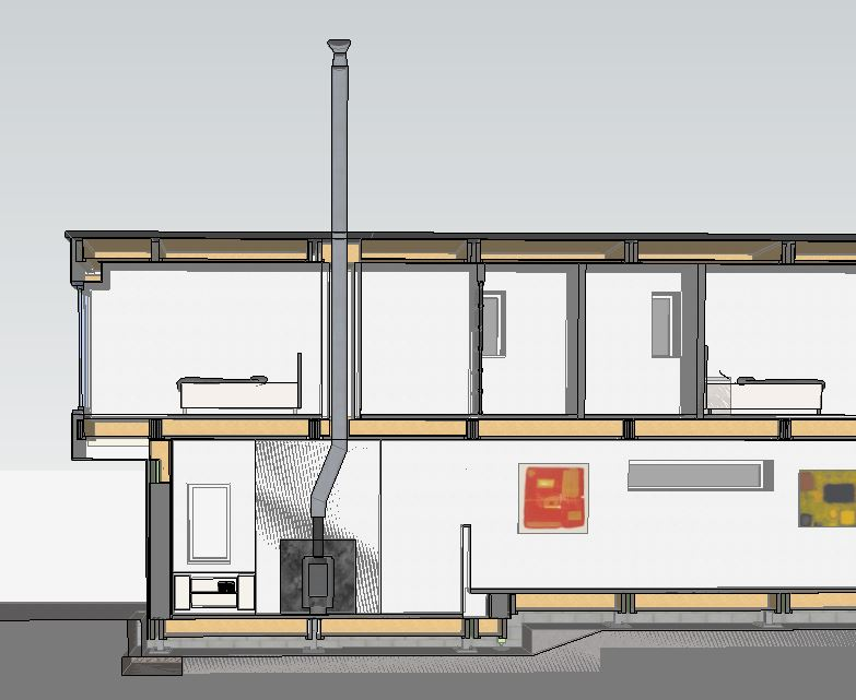 Sketchup - cross section re fire flu
