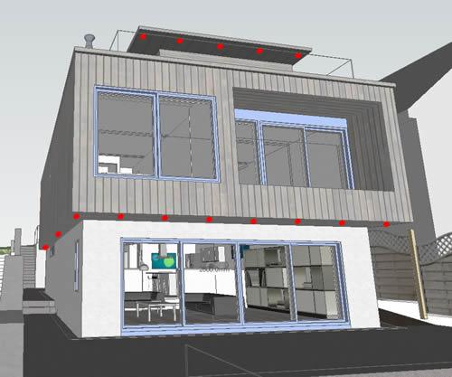 external - overhangs - ground floor - dots