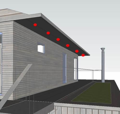 external - overhangs - top floor - rear - dots