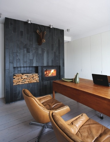 fire + same height log store - black surround - TV could be over log store