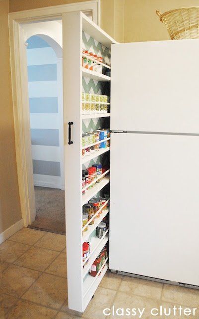storage rack by the fridge idea