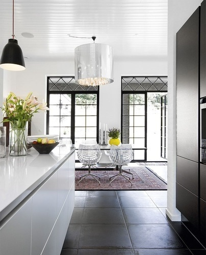 slate tiles, clean lines, white kitchen units with no handles