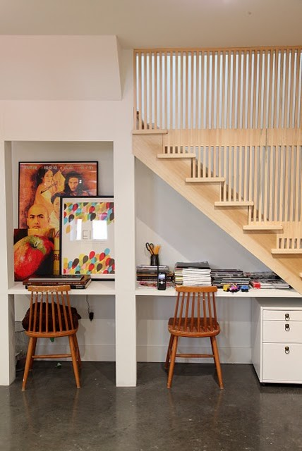 vertical wooden wall on the stairs