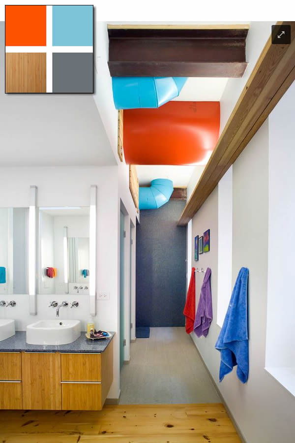 colours - blue + orange + wood - bathroom