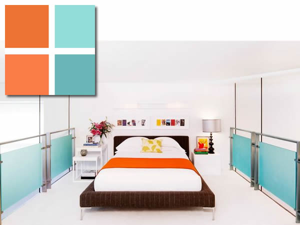 colours - blue + orange bedroom palette