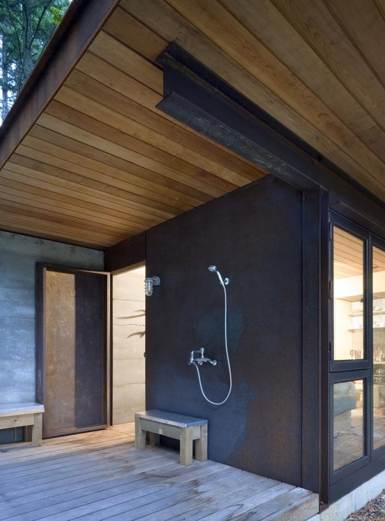 shower - with bench and light all under the over-hang
