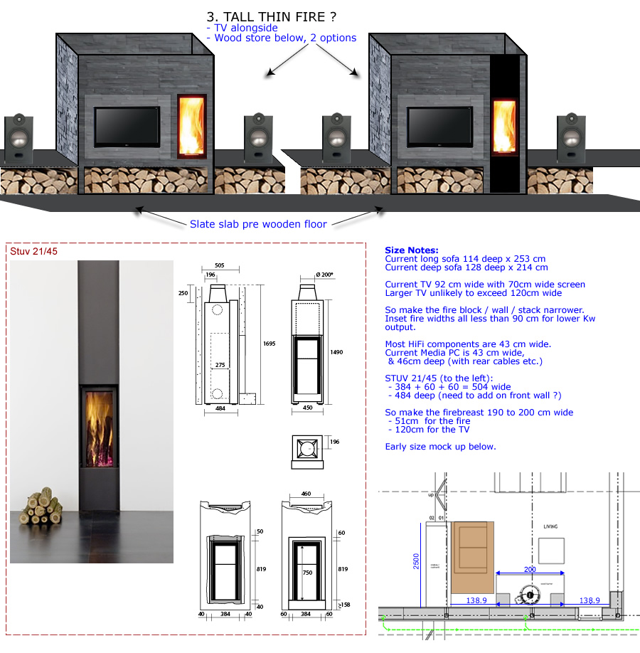 layout - fire with slate texture - tall slot fire